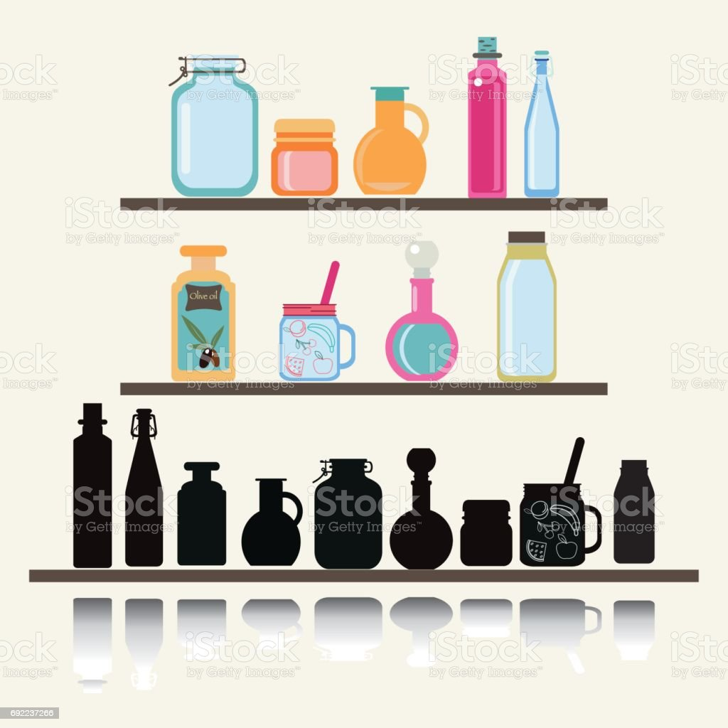 A set of cute icon collection of glassware jars and bottle. vector art illustration