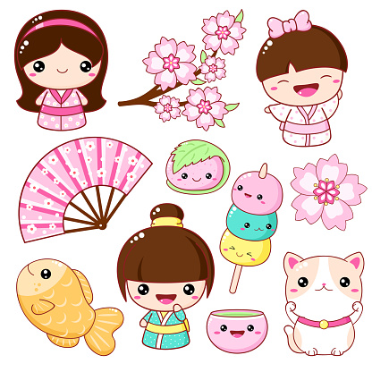 Set of cute icons in kawaii style