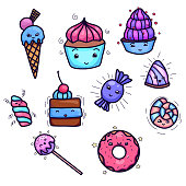 Set of cute, kawai sweets and confection. Object separated from the background. Hand drawn child vector element for stickers, pins, badges and for your creativity.