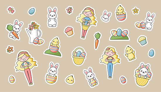 Set of cute kawaii Easter cartoon characters. Easter bunny, chick, flower, girl and basket of easter eggs.