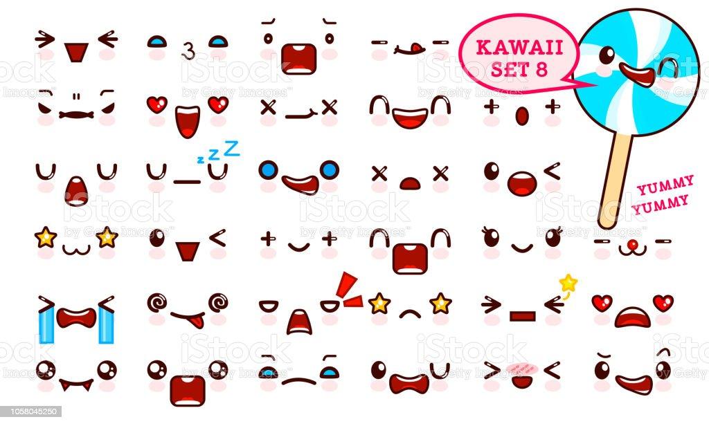Ilustracion De Juego De Cara De Emoticon Kawaii Cute Y Dulce