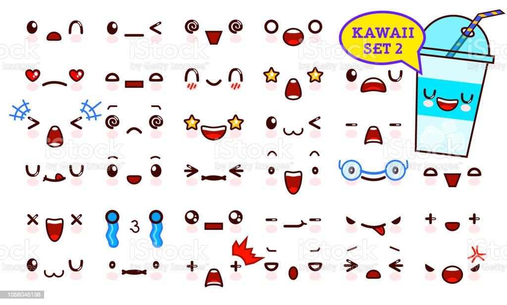 Ilustracion De Juego De Cara De Emoticon Kawaii Cute Y Kawaii Coctel