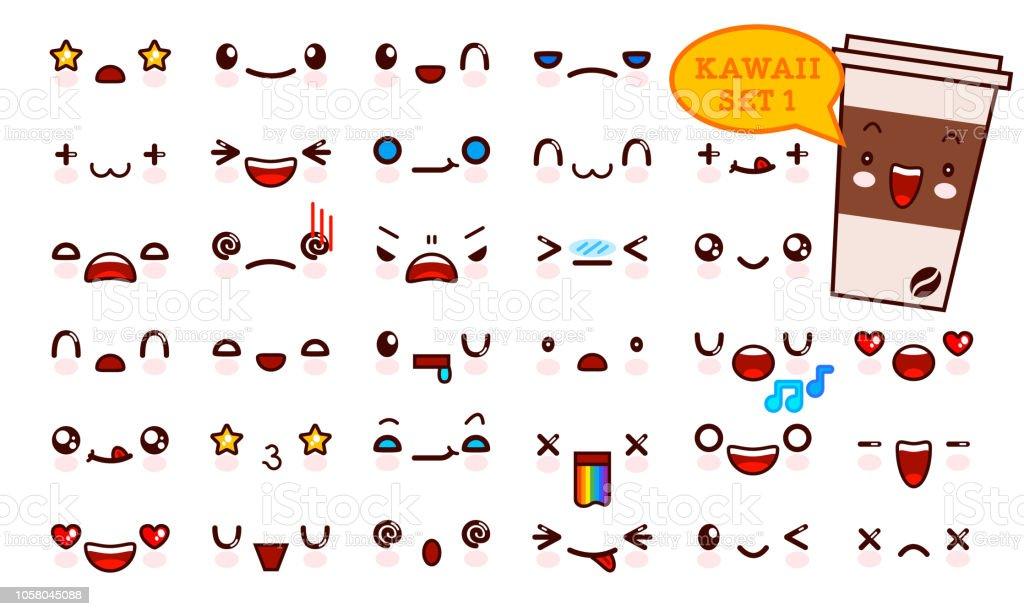 Ilustracion De Juego De Cara De Emoticon Kawaii Cute Y Kawaii Cafe