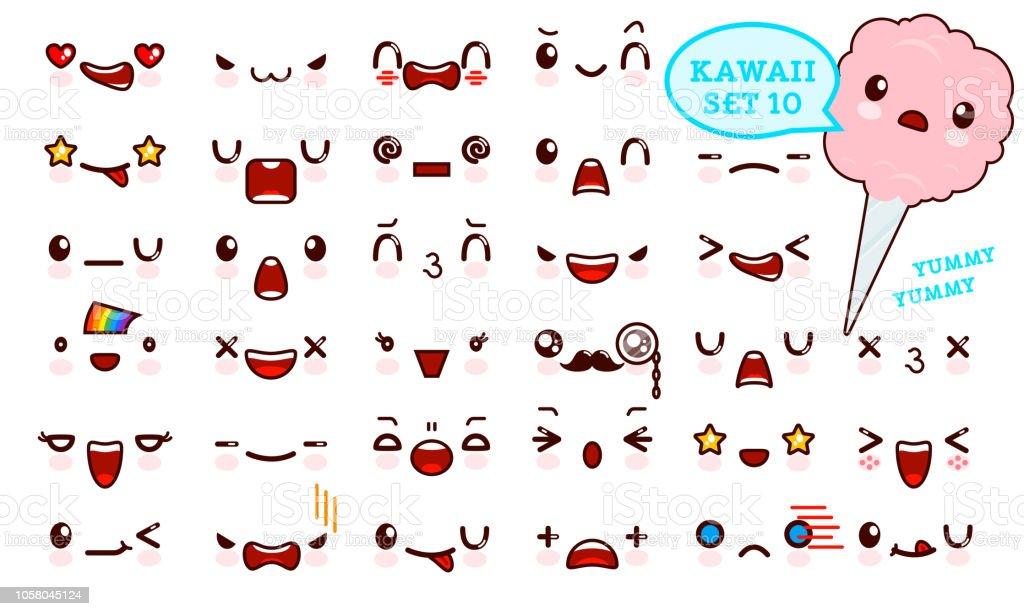 Ilustracion De Juego De Cara De Emoticon Kawaii Cute Y Kawaii De