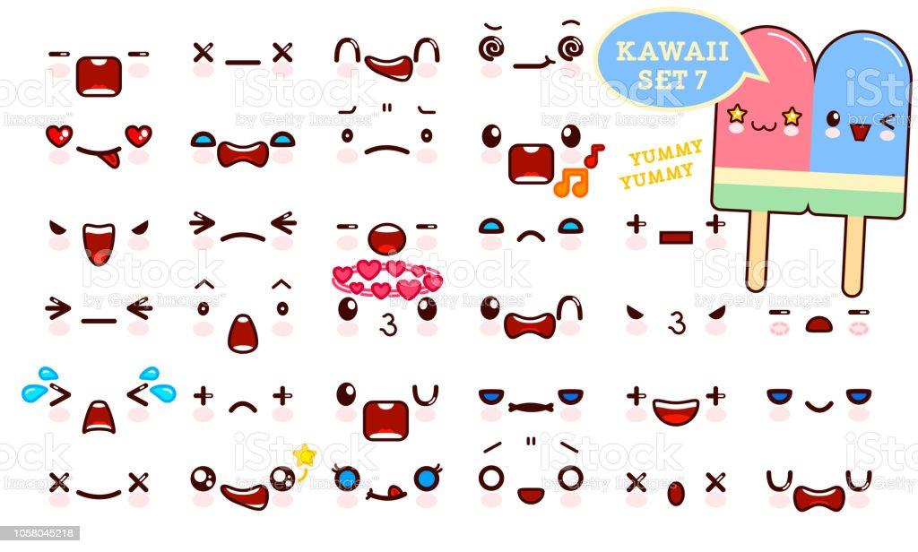 Ilustracion De Juego De Cara De Emoticon Kawaii Cute Y Dulce Pareja