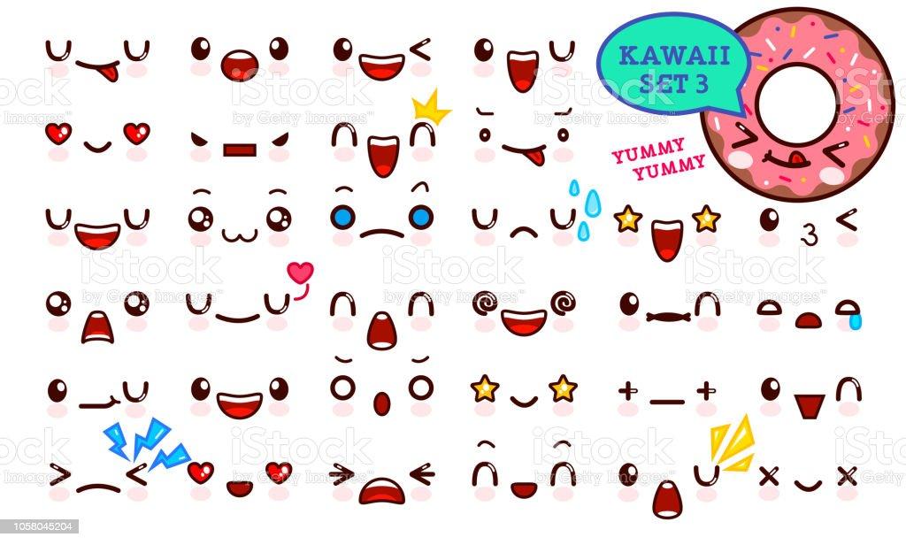 Ilustracion De Juego De Cara De Emoticon Kawaii Cute Y Dulce Donut