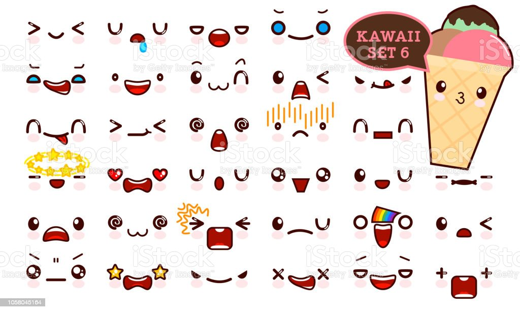 Ilustracion De Juego De Cara De Emoticon Kawaii Cute Y Kawaii Helado