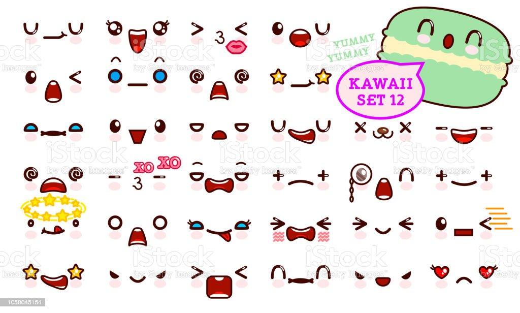 Ilustracion De Juego De Cara De Emoticon Kawaii Cute Y Kawaii