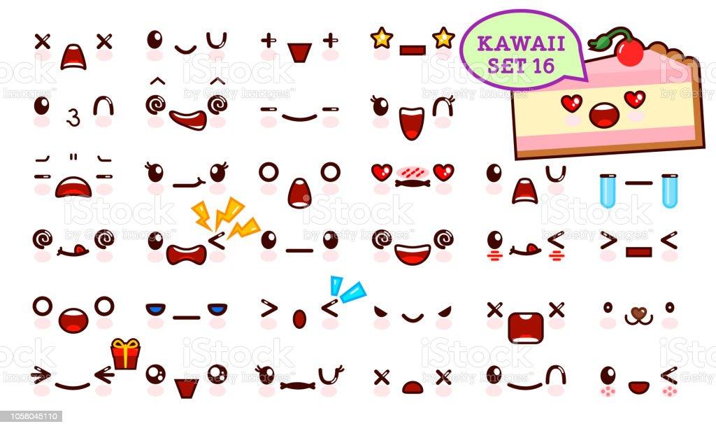 Ilustracion De Juego De Cara De Emoticon Kawaii Cute Y Kawaii Pastel
