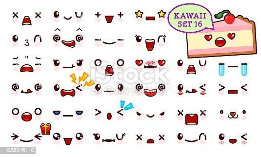 Istock Conjunto De Cara De Emoticon Kawaii Cute Y Kawaii Jalea Dulce