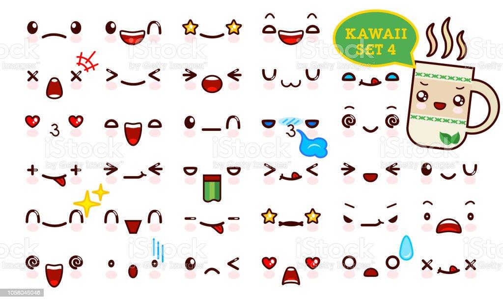 Ilustracion De Juego De Cara De Emoticon Kawaii Cute Y Kawaii De Te