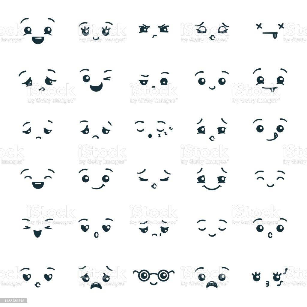 Uppsättning av söta kawaii emoticons Emoji - Royaltyfri Ansiktsuttryck vektorgrafik