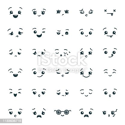 Set of cute kawaii emoticons emoji. Expression faces in the style of Japanese anime, manga. Vector illustration.