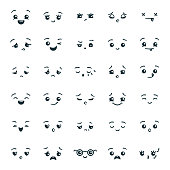 Set of cute kawaii emoticons emoji