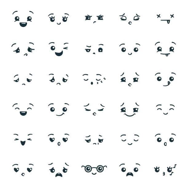 かわいい可愛い絵文字絵文字のセット - 笑顔点のイラスト素材/クリップアート素材/マンガ素材/アイコン素材