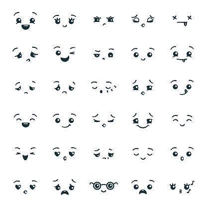 Uppsättning Av Söta Kawaii Emoticons Emoji-vektorgrafik och fler bilder på Ansiktsuttryck