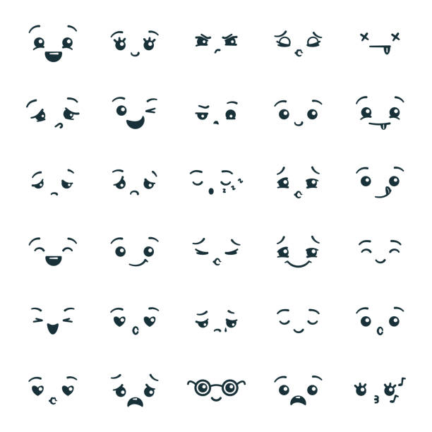 Set of cute kawaii emoticons emoji Set of cute kawaii emoticons emoji. Expression faces in the style of Japanese anime, manga. Vector illustration. displeased stock illustrations