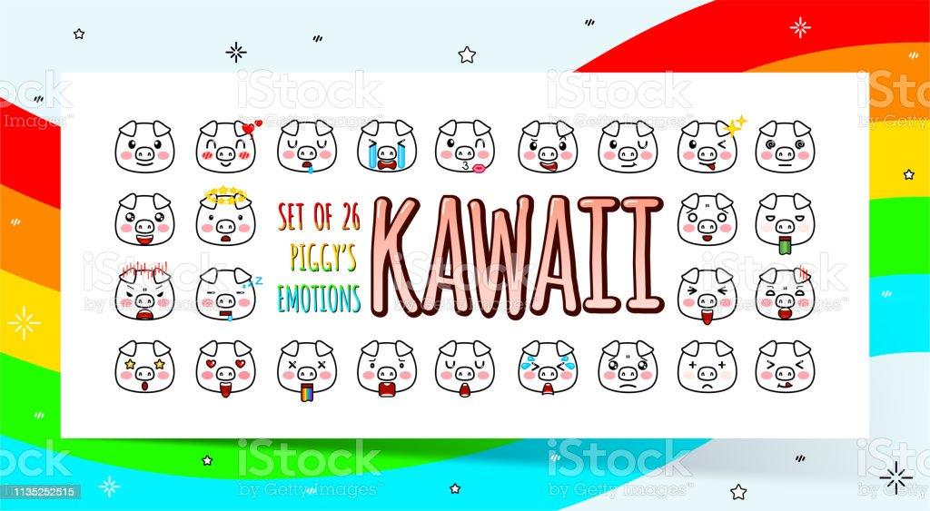 Ensemble De Mignons Cochons Kawaii Avec Diverses Emotions