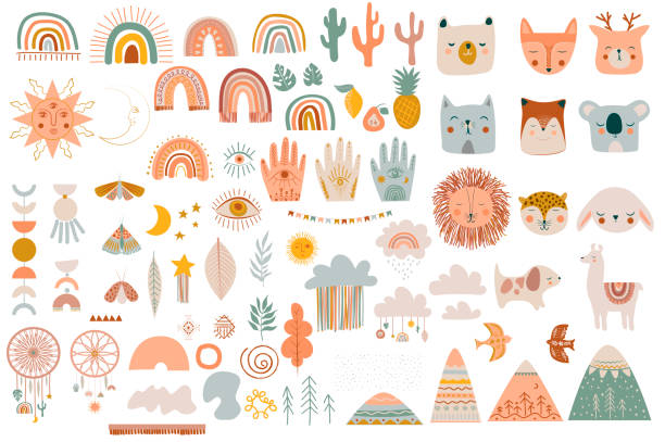 Set of cute kids boho elements, hand draw doodle and animals. Set of cute kids boho elements, hand draw doodle and animals. Cartoon doodle kids illustration template in scandinavian style. Editable vector illustration. youth culture stock illustrations