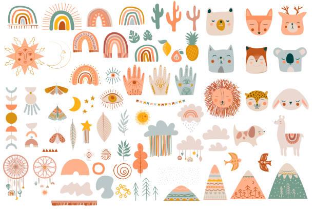 stockillustraties, clipart, cartoons en iconen met reeks leuke jonge geitjes boho elementen, handtrek doodle en dieren. - boho