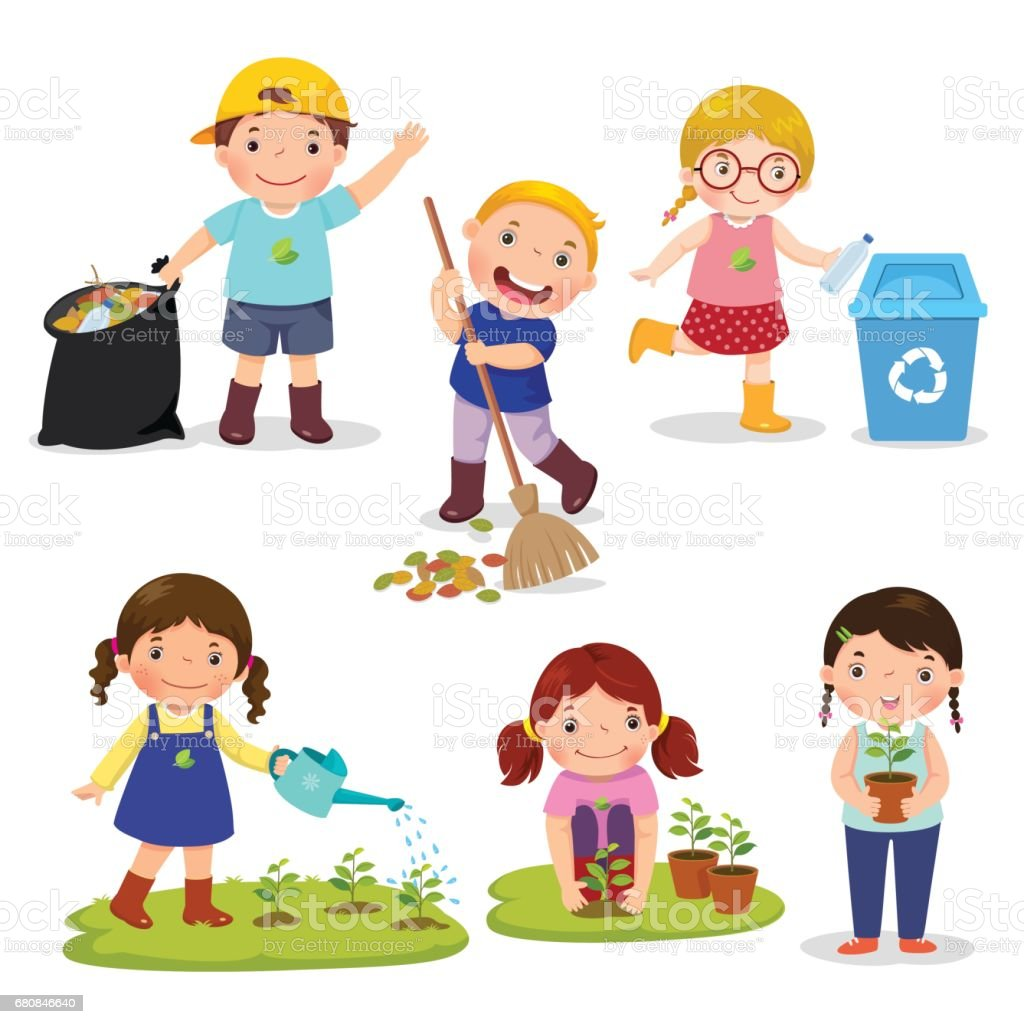 Set of cute kids volunteers Set of cute kids volunteers. Save Earth. Waste recycling. Girls planted and watering young trees. Kids gathering garbage and plastic waste for recycling. Altruism stock vector