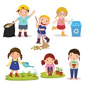 Set of cute kids volunteers. Save Earth. Waste recycling. Girls planted and watering young trees. Kids gathering garbage and plastic waste for recycling.