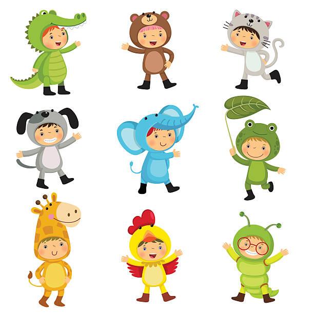 set of cute kids wearing animal costumes - giraffenkostüm stock-grafiken, -clipart, -cartoons und -symbole