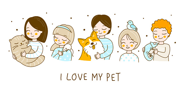 Set of cute kids with their pets isolated on white - cartoon boys and girls characters with cat, rat, dog, bird and chameleon
