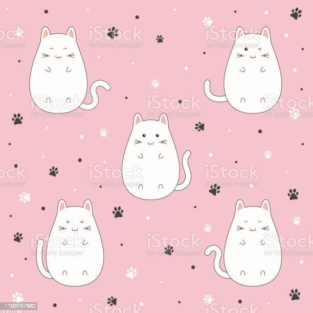 Set of cute kitten cartoon on pink background vector illustration vector id1169157882?b=1&k=6&m=1169157882&s=612x612&h=an7zezf9qjepuhp2zoc6idsug yhxxjayt6sy9a1yiq=