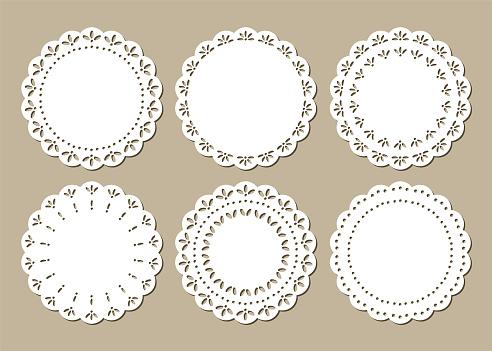 Set of Cute Lace Doilies, Place Mats, Paper Cut Out Design, Laser Cutting Design