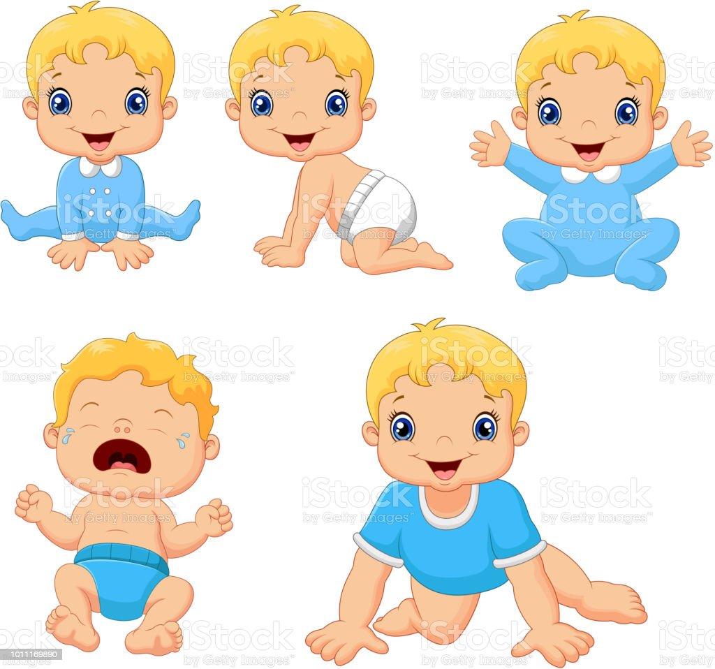Ilustração De Conjunto De Bebês Bonitos Em Várias Poses E Mais Banco
