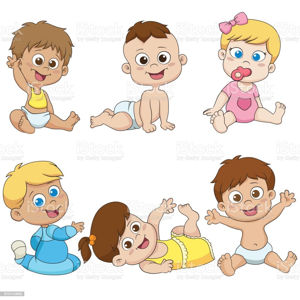 Set of cute little babies.vector and illustration. vector art illustration