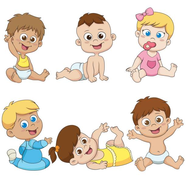 stockillustraties, clipart, cartoons en iconen met set schattige kleine babies.vector en illustratie. - alleen één jongensbaby