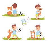 Set of cute little boy playing with his dog. Best friends ever vector illustration.