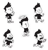 Set of cute little boys, monochrome style
