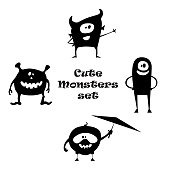 Set of cute little cartoon monsters with different shapes. Black and white illustration.