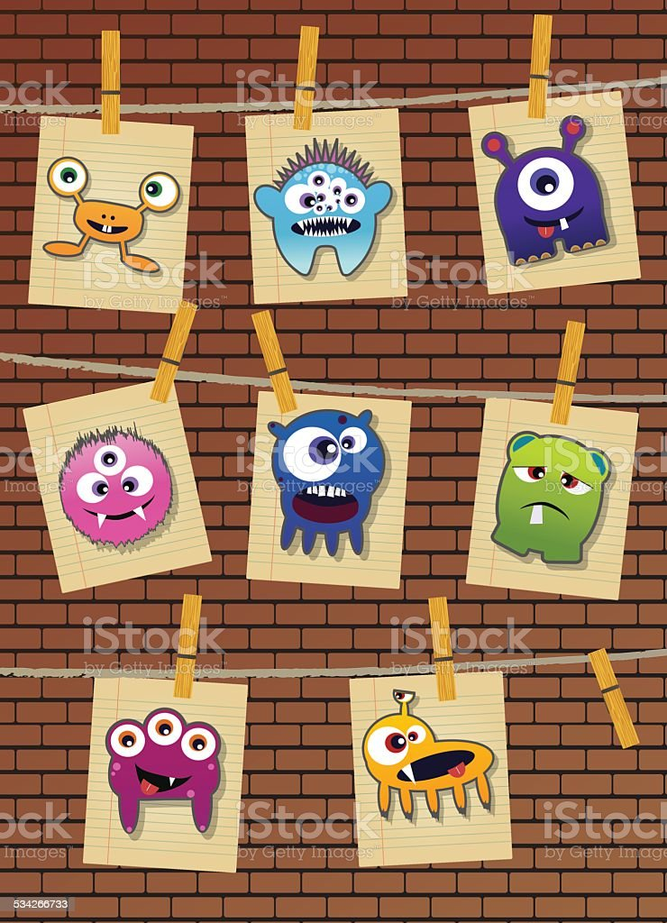 Set of cute little monsters on dotted background, vector vector art illustration