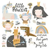 Vector set of cute little princesses, dragons and magic unicorns on white background