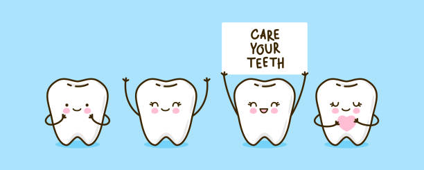 illustrazioni stock, clip art, cartoni animati e icone di tendenza di set of cute little teeth on blue - denti