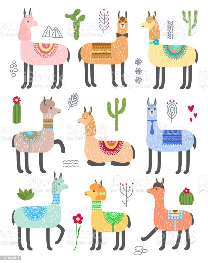 かわいいラマのセットですベクトル動物イラスト - まぶしいのベクター