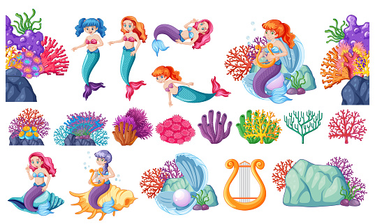 Set of cute mermaids and corals cartoon character cartoon style on white background