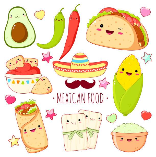 set von niedlichen mexikanischen lebensmittel-aufklebern im kawaii-stil - mexikanisches essen stock-grafiken, -clipart, -cartoons und -symbole