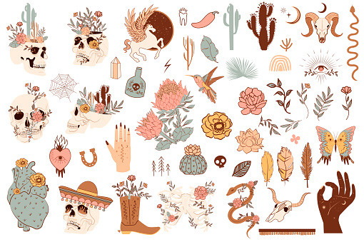 Set of cute mexico and wild west objects
