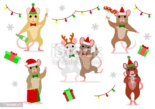set of cute mice at Christmas party