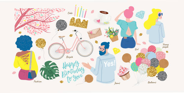 Set of cute modern fashion objects for congratulations on your birthday: a cake with candles, a guy in jeans, a woman, a bicycle, balloons, coffee, young people sitting back vector art illustration