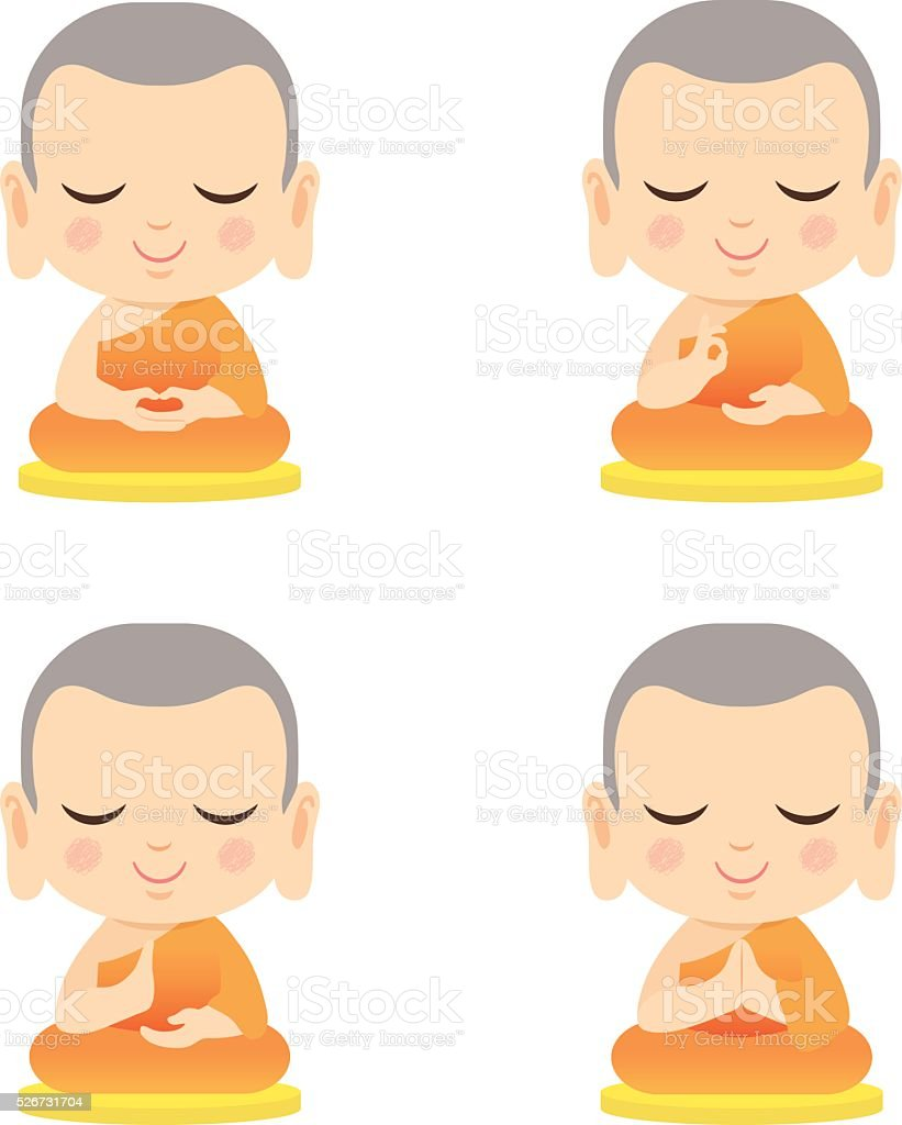 Set of cute monk vector art illustration