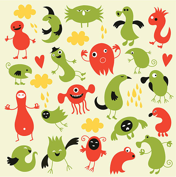 Set of cute monsters vector art illustration