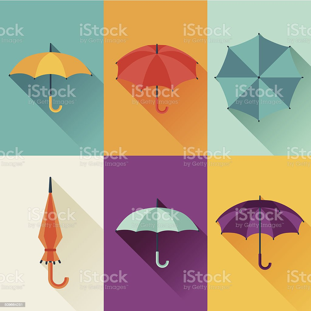 Set of cute multicolor umbrellas in flat design style. vector art illustration