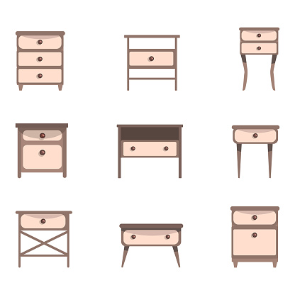 Set of cute nightstands and dressers Vector illustration in flat style