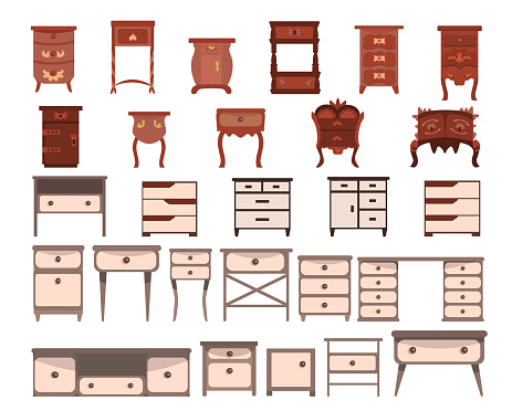Set of cute nightstands, dressers, and bureaus Isolated on a white background. Collection of modern and antique furniture for bedroom, office, living room. Vector illustration in flat style.